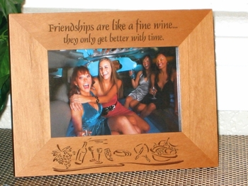 Wine & Cheese Picture Frame - Personalized Frame - Laser Engraved Wine & Cheese Theme