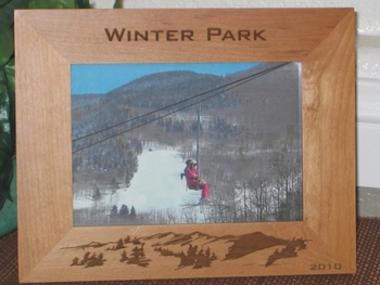 Winter Park Picture Frame - Personalized frame - Laser Engraved Mountains