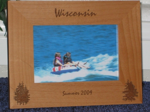 Wisconsin Picture Frame - Personalized Frame - Laser Engraved Pine Trees