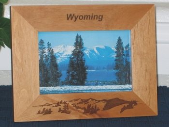 Wyoming Picture Frame - Personalized Frame - Laser Engraved Mountains