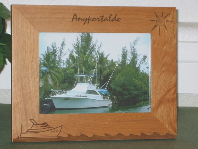 Yacht Picture Frame - Personalized Frame - Laser Engraved Yacht Waves & Sun