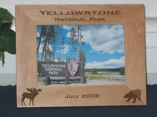 Yellowstone Picture Frame - Personalized Frame - Laser Engraved Moose & Bear