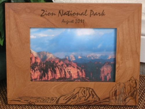 Zion Park Picture Frame - Personalized Frame - Laser Engraved Zion Canyons