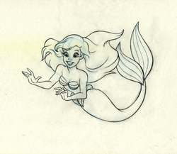 Ariel The Little Mermaid Original Production Drawing