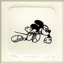 B&W Etching of Mickey <br>Mouse Running Fast