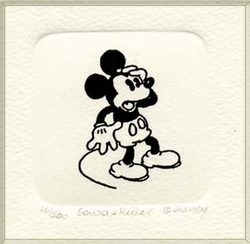 B&W Etching of <br>Mickey  Mouse Shocked