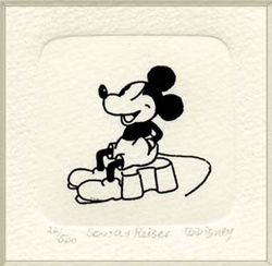 B&W Etching of Mickey <br>Mouse Sitting Down