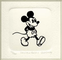 B&W Etching of <br>Mickey Mouse Walking