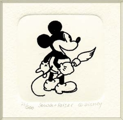 B&W Etching of Mickey<br> Mouse with a Brush