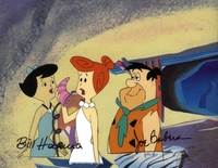 Fred, Wilma & Betty Original Prod. Cel signed - Flintstones