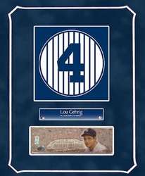 Lou Gehrig Retired Number with Original Painting
