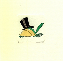 Michigan J. Frog Crouched Down<br> With Hat Small Etching