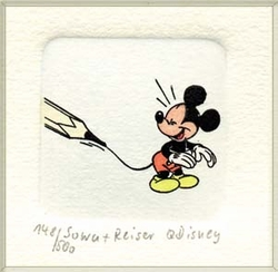 Mickey being Drawn<br> Color Etching