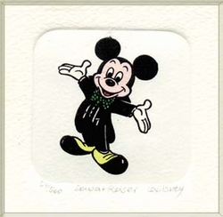 Mickey Mouse in a <br>Black Suit Color Etching