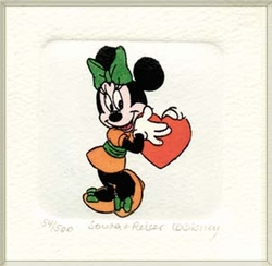 Minnie Mouse with a<br> Big Heart Color Etching