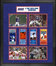 NY Giants 4x Super Bowl Collage