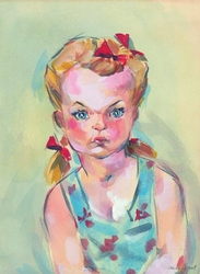 Pigtails & Red Ribbon-canvas