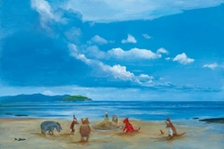 Pooh and Friends at <br>The Seaside Canvas