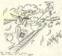 Pooh and Piglet flying a kite