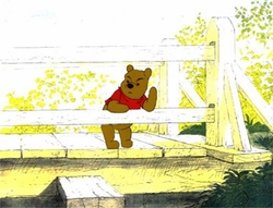 Pooh on fence Front