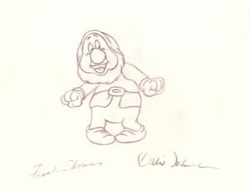 """Sneezy  from """"Snow White""""(1937)<br> Signed Prod Drawing#126"""