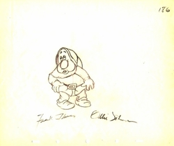 """Sneezy  from """"Snow White""""(1937)<br> Signed Prod Drawing #186"""
