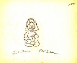 "Sneezy  from ""Snow White""(1937)<br> Signed Prod Drawing #253"