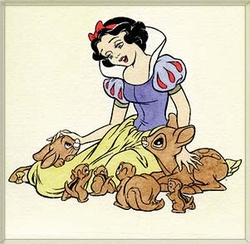 Snow White with animals<br> Large Color Etching