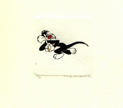 Sylvester Playing Football<br> Small Etching