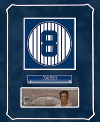 Yogi Berra Retired Number<br> with Original Painting
