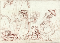 Yogi, Cindy & Booboo Layout Drawing - Yogi Bear