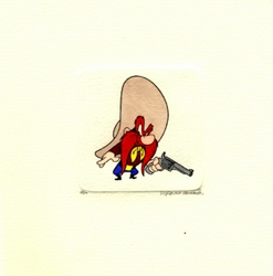 Yosemite Sam With A<br> Gun Small Etching