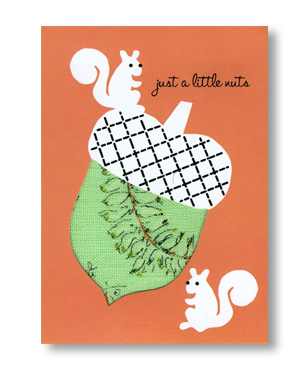 Crafty Acorn Card <br> with vintage fabric
