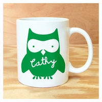 personalized green owl mug