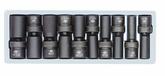 "1/2"" Drive Fractional 6 Point Deep Universal Impact Socket Set - 10 Pc."