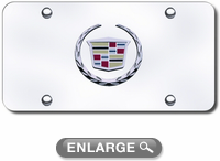 3D Chrome Cadillac Colored Logo Stainless Steel License Plate
