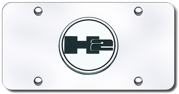 3D Chrome Hummer H2 Colored Logo Stainless Steel License Plate