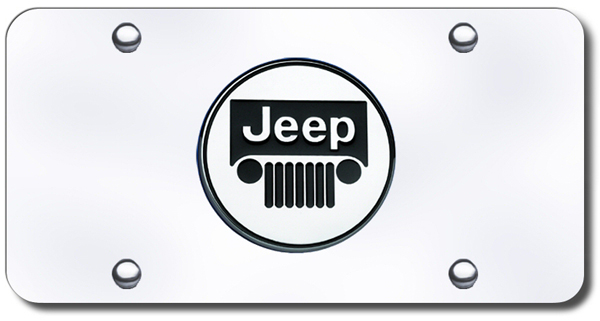 3D Chrome Jeep Colored Logo Stainless Steel License Plate