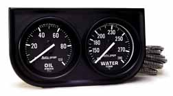 "Auto Meter Autogage 2"" Two-Gauge Console Oil/Water"