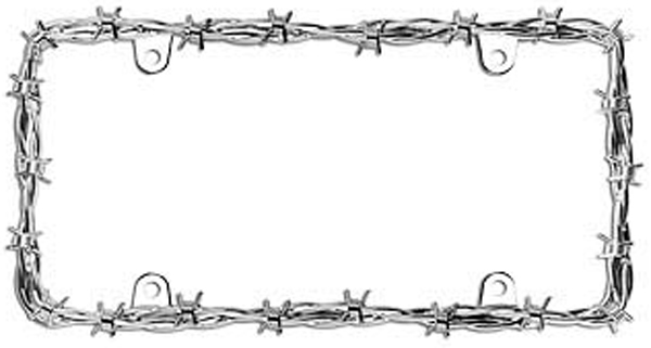 Barbed Wire II Chrome License Plate Frame