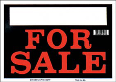 """Black & Red For Sale Sign 8"""" x 12"""""""