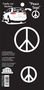 Black & White Peace Sign Stickers