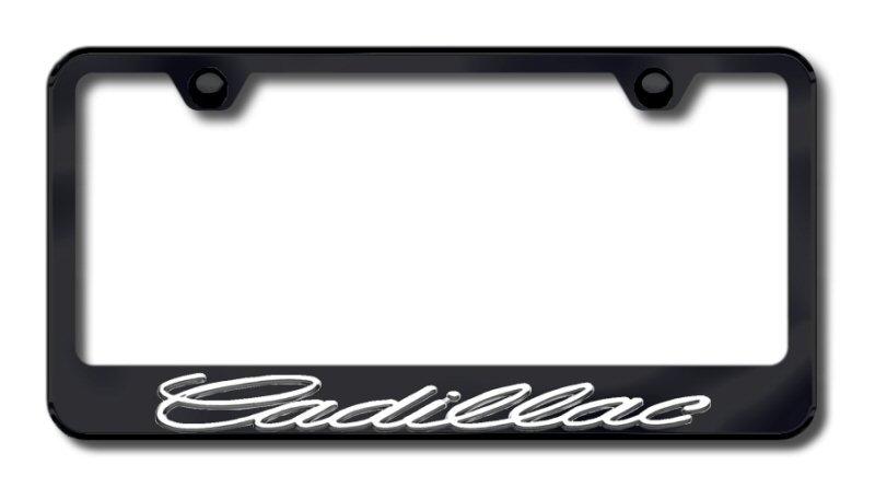 Chrome 3D Cadillac Logo Black Stainless Steel License Plate Frame