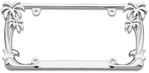chrome palm tree license plate frame
