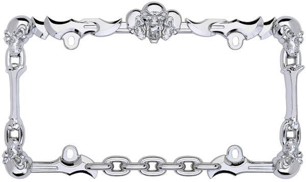 Chrome Skull & Bones License Plate Frame