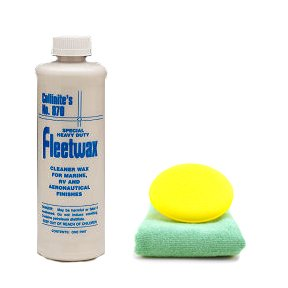Collinite 870 Fleetwax Liquid Cleaner Wax 16 oz Microfiber Cloth & Foam Pad Kit