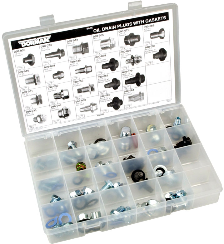 Dorman Oil Drain Plugs with Gaskets 44 Pc. Tech Tray