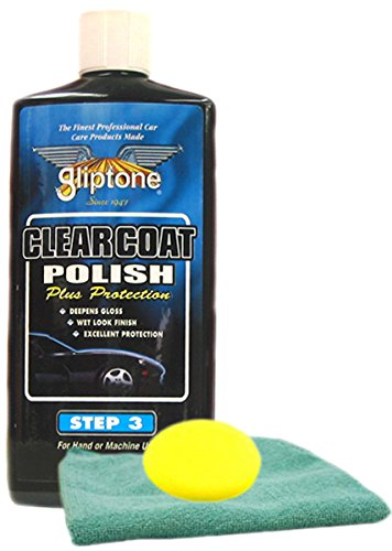 Gliptone Clear Coat Liquid Car Polish 16 oz Microfiber Cloth & Foam Pad Kit