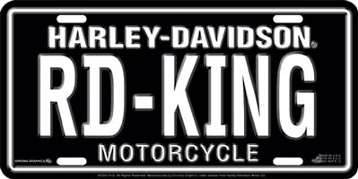 "Harley Davidson ""RD-KING"" Stamped Metal Auto Tag"