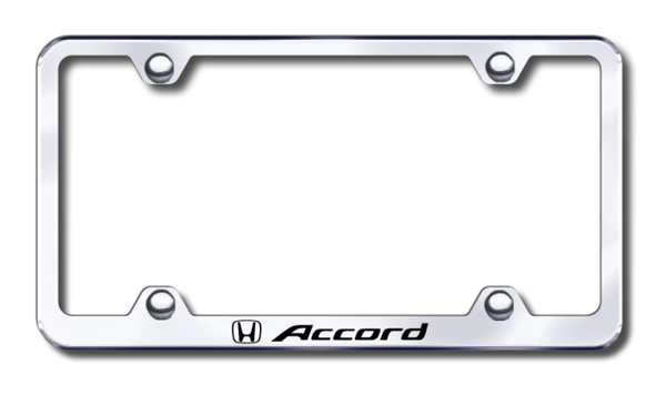 Honda Accord Laser Etched Stainless Steel Wide License Plate Frame